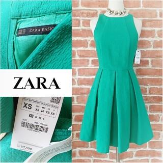 ザラ(ZARA)のZARA BASIC*ザラ ベーシック【試着程度】Aラインタックフレアワンピース(ひざ丈ワンピース)