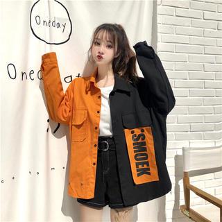 新作❤️ ビッグシルエット バイカラー シャツ オレンジ(その他)