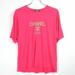 シャネル(CHANEL)の90s ブート CHANEL  ショッキングピンク ゴールド刺繍Tシャツ(Tシャツ/カットソー(半袖/袖なし))