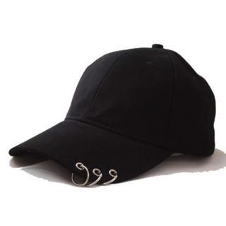 <新品> キャップ リング付き デザイン UVカット 男女兼用 ブラック(キャップ)