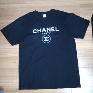 シャネル(CHANEL)のAnotA(アノッタ)CHANELロゴ  FLASH PARTY Tシャツ 黒(Tシャツ/カットソー(半袖/袖なし))