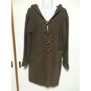 レディースコート ロングコート ニット フード付き Lサイズ 美品 ブラウン(ロングコート)