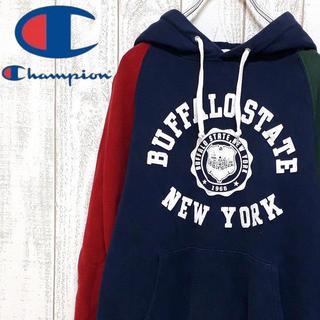 チャンピオン(Champion)の【一点物】チャンピオン スウェットパーカー クレイジーパターン 袖口ロゴ 個性的(パーカー)