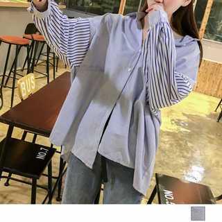 スキッパーシャツ 長袖 レトロ マルチストライプ ブラウス シャツ レディース(シャツ/ブラウス(長袖/七分))
