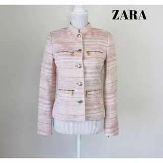ザラ(ZARA)のザラベーシック★春色 マオカラー ツイードジャケット XS サーモンピンク(ノーカラージャケット)