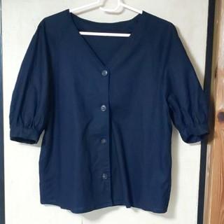 ジーユー(GU)のリネンブレンドフロントボタンブラウス(5分袖)(シャツ/ブラウス(半袖/袖なし))