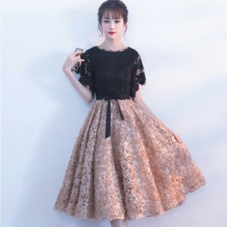 ♡即日発送!ブラック×ピンク膝丈ドレス♡(ミディアムドレス)