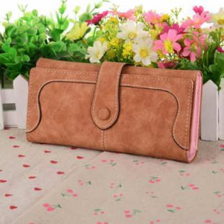 長財布 レディース スエード 女性 スウェード ブラウン 茶 カード入れ 大容量(財布)