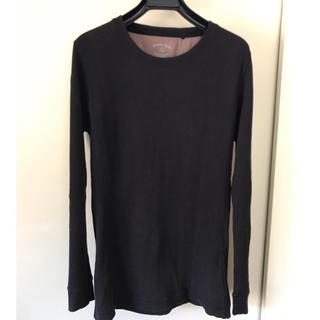 ユニクロ(UNIQLO)のユニクロ クルーネックサーマルカットソー  ロンT 黒M(Tシャツ/カットソー(七分/長袖))