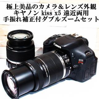 ★極上美品のカメラ&レンズ外観★キャノン kiss x5 手振れ補正付ダブルズー