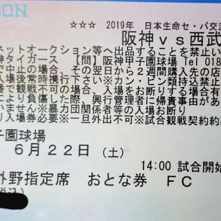 6/22(土) 阪神VS西武 ライト外野指定席 親子ペア 通路近