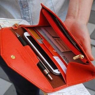 大人気!オシャレに収納♪スマホも入る 多機能マルチケース オレンジ(財布)