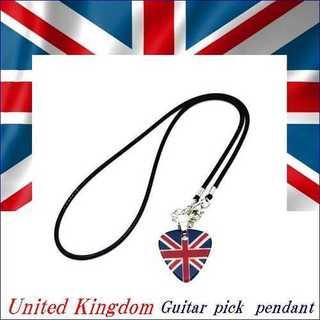 ギター ピック ペンダント イギリス UK フラッグ デザイン 革紐 ネックレス