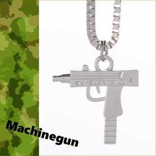 シルバー ピストルモチーフ ペンダント 機関銃 マシンガン ピストル ペンダント