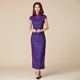 3L 新品 チャイナドレス 青紫 大きいサイズ ロング丈 半袖ワンピース 制服(ロングワンピース/マキシワンピース)