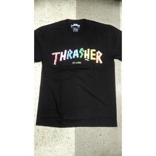 スラッシャー メンズ半袖Tシャツ レインボーカラー 新作 黒 (Tシャツ/カットソー(半袖/袖なし))