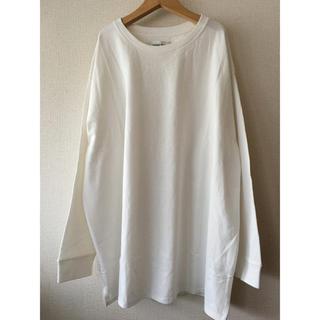 白 ビッグTシャツ オーバーサイズ シンプルTシャツ 長袖(Tシャツ(長袖/七分))