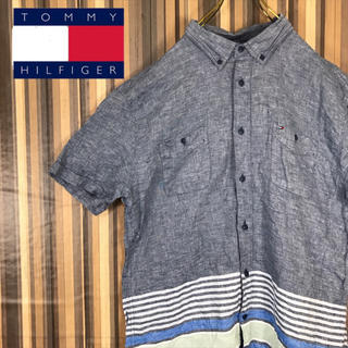 TOMMY HILFIGER - トミーヒルフィガー BDシャツ 半袖 刺繍ロゴ ボーダー リネン XL