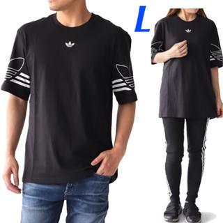 アディダス(adidas)の【メンズL】 黒  アウトラインTシャツ(Tシャツ/カットソー(半袖/袖なし))