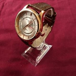 【新品・数量限定】腕時計 高級感レザーベルトブラウン/ピンクゴールド