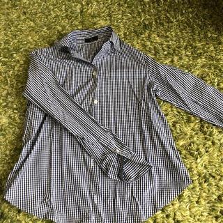 イネド(INED)の美品INED ネイビーチェックシャツ 7号(シャツ/ブラウス(長袖/七分))