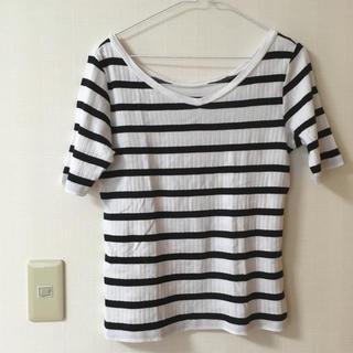 ユニクロ(UNIQLO)のユニクロ リブボーダーTシャツ 2way(Tシャツ(半袖/袖なし))