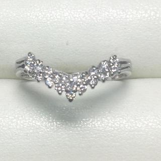 ★大きめの20号★プラチナPt900・V字ダイヤモンドリング★0.31ct(リング(指輪))