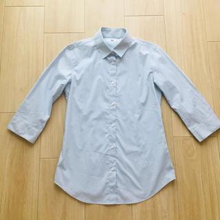 ユニクロ(UNIQLO)のUNIQLO シンプルライトブルーシャツ 7部袖(シャツ/ブラウス(長袖/七分))