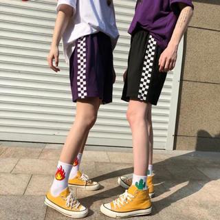 ♡ダンス衣装にも♡ ハーフパンツ サイドライン チェック 韓国