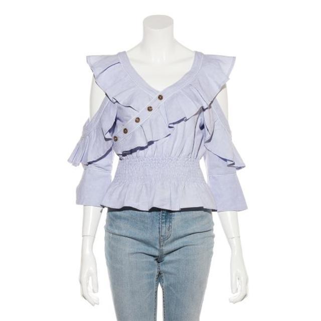 snidel(スナイデル)のSNIDEL(スナイデル) オープンショルダーフリルブラウス ブルー レディースのトップス(Tシャツ(長袖/七分))の商品写真