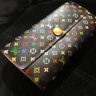 ルイヴィトン(LOUIS VUITTON)のやや美品 ルイヴィトン 財布 マルチカラー 黒 モノグラム(財布)