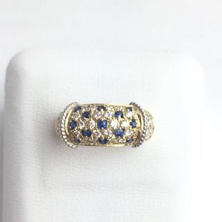 K18 PT900 サファイア×ダイヤモンド リング 14号 新品仕上げ(リング(指輪))