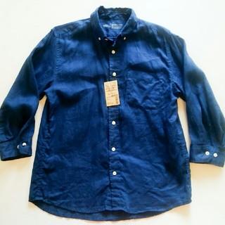ムジルシリョウヒン(MUJI (無印良品))のMUJI 無印良品 リネン 洗いざらし ボタンダウン 七分袖 シャツ ブルー (シャツ)
