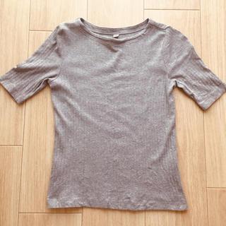 ユニクロ(UNIQLO)のUNIQLO リブトップス グレー  綿100%(Tシャツ(半袖/袖なし))