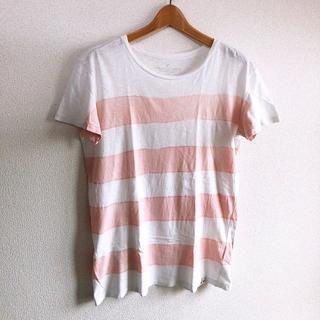 アメリカンイーグル(American Eagle)のAmerican Eagle♡ボーダーTシャツ♡ホワイト×ピンク♡メンズS♡(Tシャツ/カットソー(半袖/袖なし))