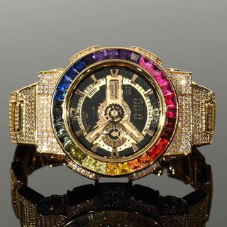カシオ(CASIO)のG-SHOCK GA110 ゴールド文字盤モデル レインボーベゼル フルカスタム(腕時計(デジタル))