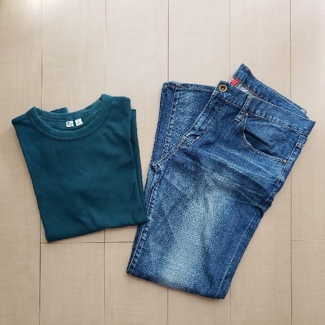 UNIQLO(ユニクロ)のユニクロ デニム&Tシャツセット 30インチ/XL レディースのパンツ(デニム/ジーンズ)の商品写真