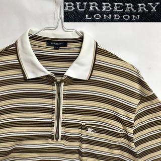 バーバリー(BURBERRY)のレア!BURBERRYバーバリー ホースマークハーフジップ ボーダーポロシャツ (ポロシャツ)