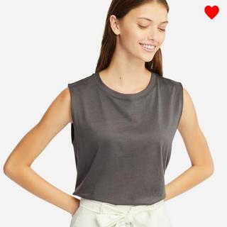 ユニクロ(UNIQLO)の新品未使用 ユニクロ マーセライズコットンT グレー L 完売 ジーユー(Tシャツ(半袖/袖なし))