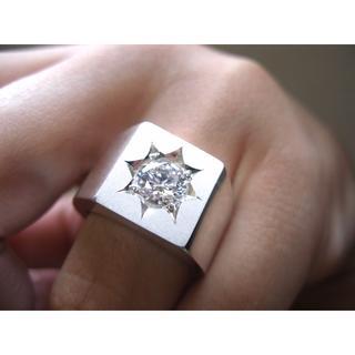 仁尾彫金『一つ星ジルコニア印台リング』ハンドメイド148(リング(指輪))