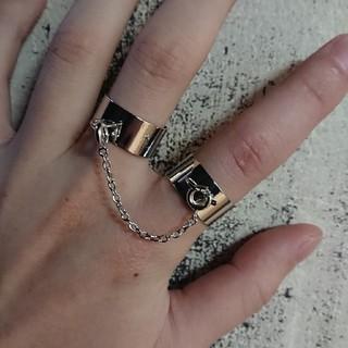 2連 チェーン リング 指輪 フリーサイズ(リング(指輪))