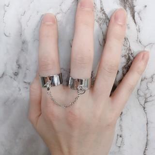 フリーサイズ チェーン付き2連リング 指輪 シルバー(リング(指輪))