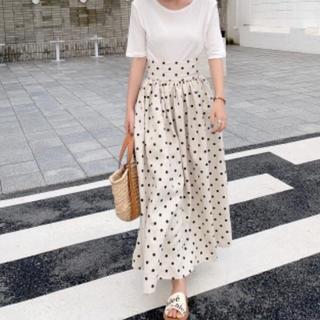 大人気♡バースデーバッシュ♡リネンハイウェストドットスカート♡(ロングスカート)