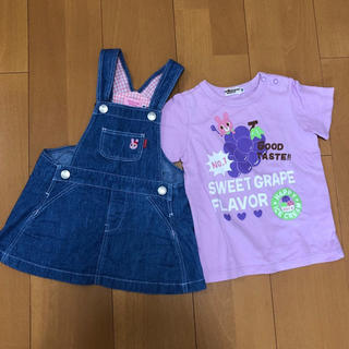 ミキハウス(mikihouse)のミキハウス ホットビスケッツ ジャンパースカート Tシャツ うさこ 80 90(ワンピース)