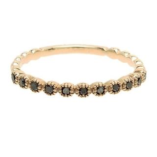 アガット(agete)のアガット ブラックダイヤモンド K10 リング 9号 フリルリング 美品(リング(指輪))