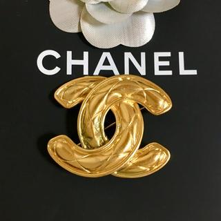 CHANEL - 正規品 シャネル ブローチ ゴールド ココマーク マトラッセ 金 デカ ステッチ