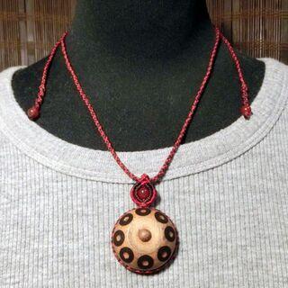 木製ハンドパン マクラメ ネックレス M022 handpan 特価(その他)