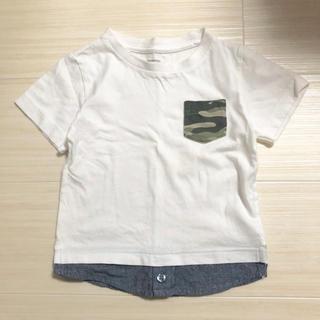 ニシマツヤ(西松屋)のシンプル ベビー  半袖 重ね着風 Tシャツ 90(Tシャツ/カットソー)