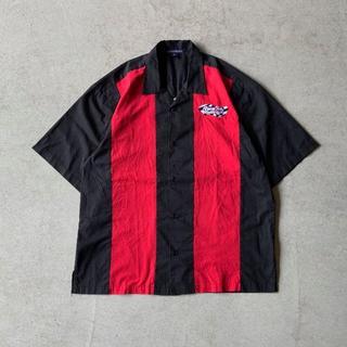 USED古着 企業ロゴ刺繍 オープンカラー シャツ 黒 ブラック XL(シャツ)