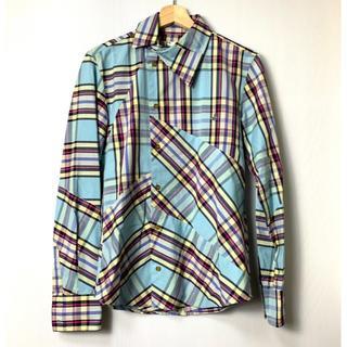 ヴィヴィアンウエストウッド(Vivienne Westwood)の【H】ヴィヴィアンウエストウッドマン オーブ刺繍 変形 チェックシャツ 44(シャツ)